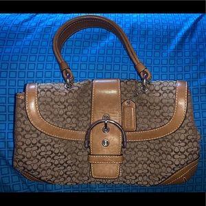 COACH Brown Soho Signature Jacquard Shoulder Bag